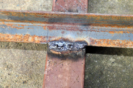 Welded: The welded joint of steel corners in the construction