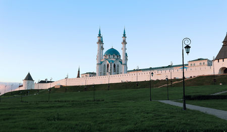 namaz: Kul-Sharif mosque in Kazan Kremlin  on the sunset in Tatarstan, Russia