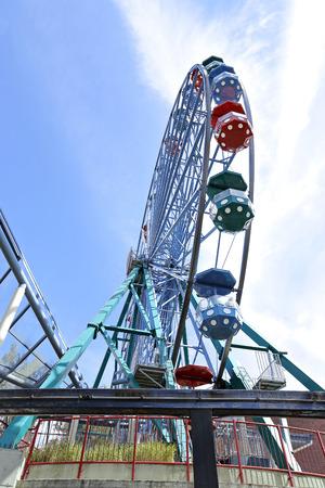suomi: HELSINKI, FINLAND - JULY 11, 2015: Amusement rides in the amusement park in Helsinki