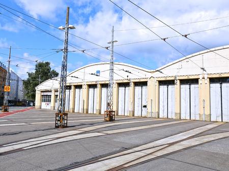 depot: HELSINKI, FINLAND - JULY 11, 2015: Tram depot in Helsinki