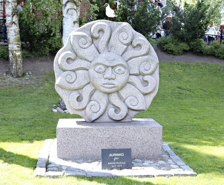 suomi: HELSINKI, FINLAND - JULY 11, 2015: Sculpture of Sun in the amusement park in Helsinki