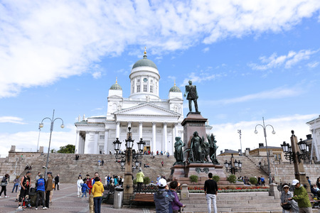 st  nicholas cathedral: HELSINKI, FINLAND - JULY 7, 2015: Cathedral of St. Nicholas (Cathedral Basilica) and monument to Alexander II on the Senate Square