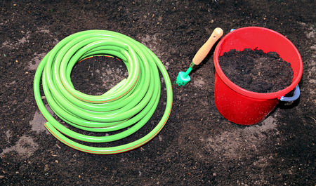 horticulture: Horticulture accessories on the gardenbed in the garden