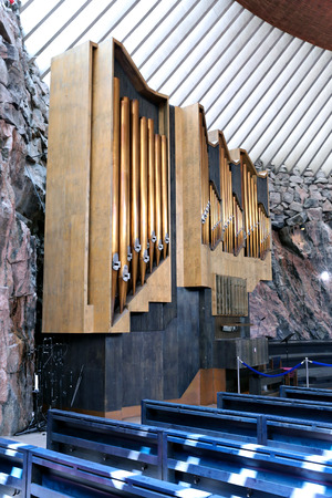 scala: HELSINKI, FINLAND - JULY 9, 2015: Organ pipes in the interior of the church in the rock (Temppeliaukio) in Helsinki Editorial