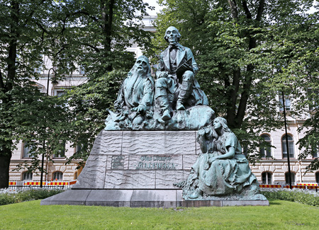 linguist: HELSINKI, FINLAND - JULY 10, 2015: Monument Elias Lönnrot, the collector of folk poetry and publisher of Kalevala Editorial