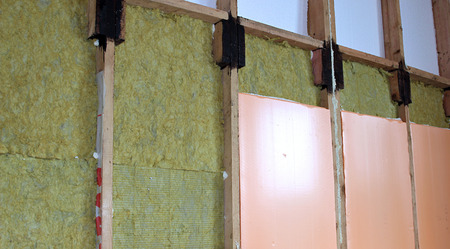 type bar: Construction of walls of a frame house with different types of heat insulation Stock Photo