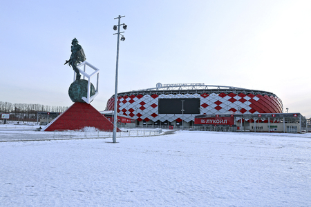 spartak: MOSCOW, RUSSIA - FEBRUARY 10, 2015: Football stadium Spartak Opening arena and a monument to the gladiator Spartacus Editorial