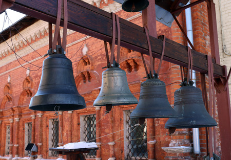 peal: Bronze bells near the Christian church in Moscow Stock Photo