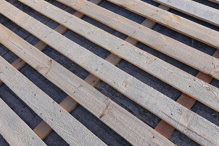 roofing system: Lathing of roofing system of wooden boards
