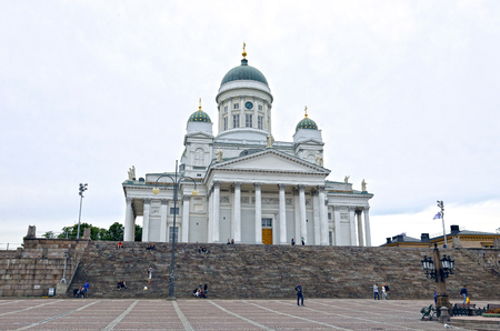 st  nicholas cathedral: HELSINKI, FINLAND - JULY 6, 2015: Cathedral of St. Nicholas (Cathedral Basilica) on a cloudy day