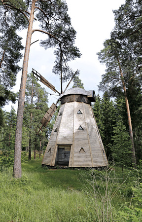 suomi: The wooden windmill in the park in Helsinki Stock Photo