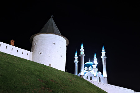 kazanskiy: KAZAN, RUSSIA - SEPTEMBER 16, 2014: The walls of the Kazan Kremlin Kul-Sharif mosque at night