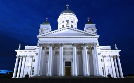 suomi: HELSINKI, FINLAND - JULY 8, 2015: Cathedral of St. Nicholas (Cathedral Basilica) in Helsinki at night