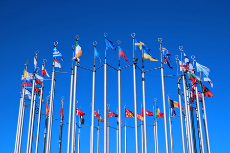 Flags of European countries against the blue sky Zdjęcie Seryjne