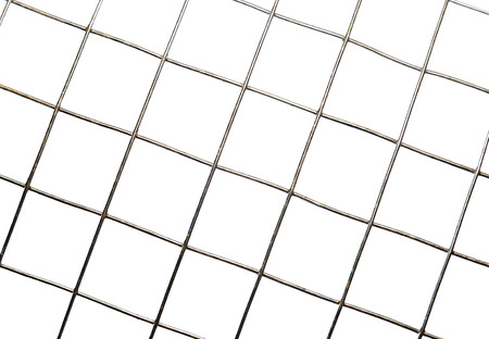 Background texture of metal mesh cells isolated on white background