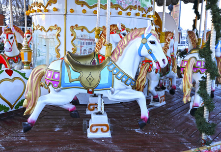 festively: Festively decorated roundabout Carousel in Moscow