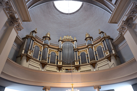 nikolay: HELSINKI, FINLAND - JULY 7, 2015: The interior of the dome and the organ in the Cathedral of St. Nicholas (Cathedral Basilica)