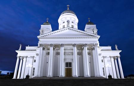 nikolay: HELSINKI, FINLAND - JULY 8, 2015: Cathedral of St. Nicholas (Cathedral Basilica) in Helsinki at night