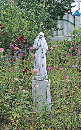 the righteous: Statue holy Martyress in Raif monastery garden