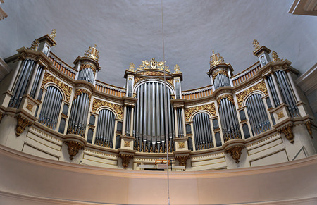 st nicholas cathedral: HELSINKI, FINLAND - JULY 7, 2015: The interior of the dome and the organ in the Cathedral of St. Nicholas (Cathedral Basilica)