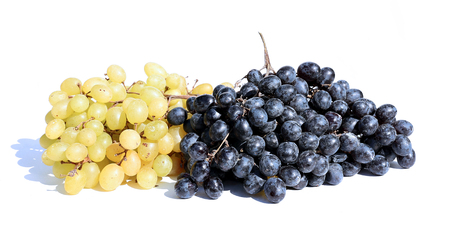 bunches: Bunches of yellow and black grapes Stock Photo
