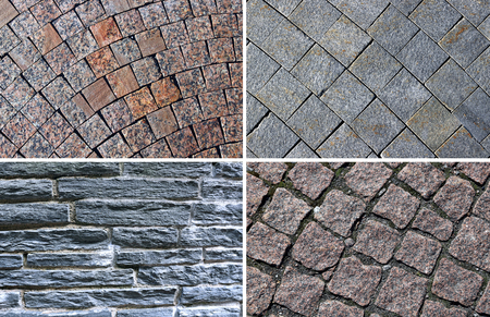 flagstone: Set of backgrounds of pavement made of brown polished marble paving stones and gray flagstone rocks with cement seams