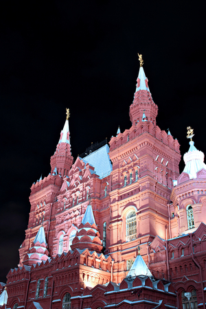 red square: MOSCOW, RUSSIA - SEPTEMBER 11, 2013: Historical Museum on Red Square in Moscow at night