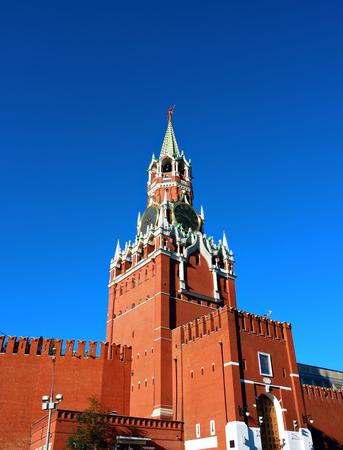 spasskaya: Spasskaya Tower in the Moscow Kremlin against the blue sky Stock Photo