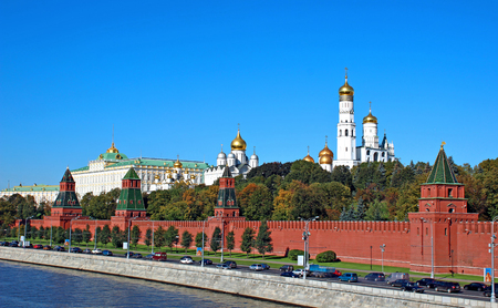 Moscow Kremlin on a sunny day. View from the embankment of the Moskva River