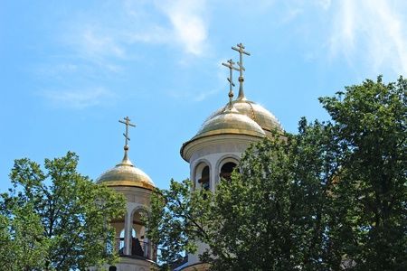the ascension: Domes of Christian church of the Ascension in Zvenigorod, Russia on a sunny day Stock Photo