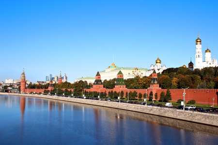 chimes: Moscow Kremlin on a sunny day. View from the embankment of the Moskva River
