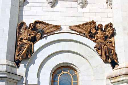 cherubs: The sculptures of cherubim angels in the design of the Cathedral of Christ the Savior in Moscow