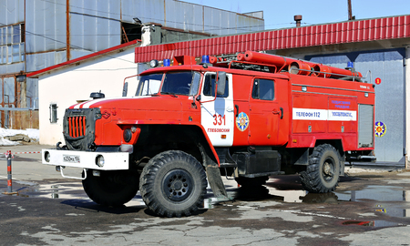 accident fire truck: MOSCOW, RUSSIA – MARCH 26, 2016: Red fire truck in Russia