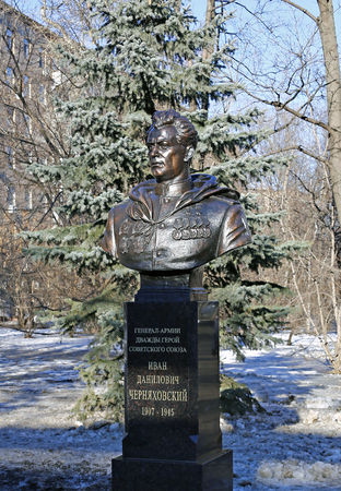 twice: MOSCOW, RUSSIA – FEBRUARY 18, 2016: Monument to General of the Army, twice Hero of the Soviet Union Ivan Chernyakhovsky in Moscow