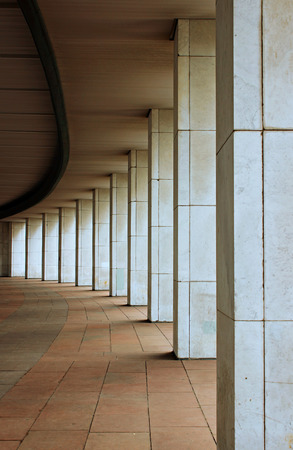 semicircle: The marble colonnade of plurality of columns arranged in a semicircle