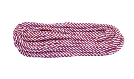 climbing cable: Hank of the long red and white climbing rope isolated on white background