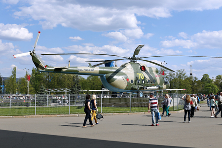 formidable: MOSCOW, RUSSIA - MAY 7, 2016: Battle military Russian helicopter MI-8 at the Russian Exhibition Center in Moscow