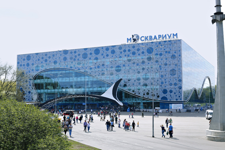 marine animals: MOSCOW, RUSSIA – MAY 7, 2016: Building of Moskvarium - Moscow oceanarium with marine animals Editorial