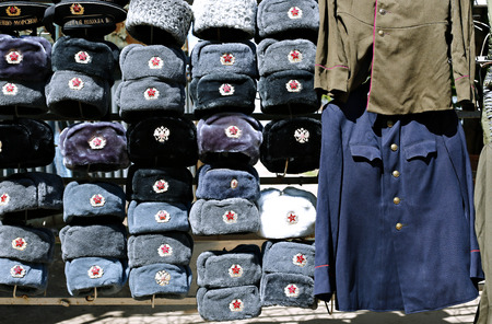 papakha: Many multi-colored military hats Soviet and Russian army and navy and outdated military uniform