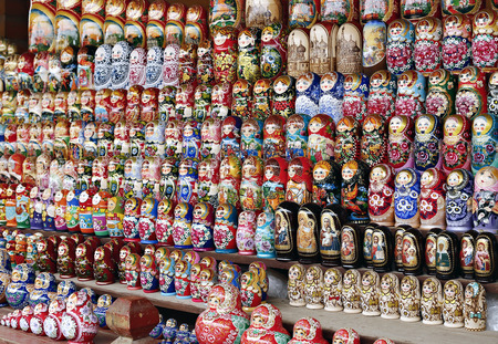 russian nested dolls: Many colorful Russian nesting dolls of wood Stock Photo