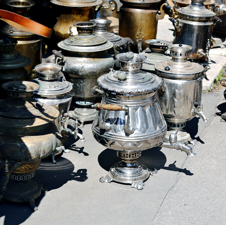 flea market: Vintage Russian retro samovars at the flea market Stock Photo