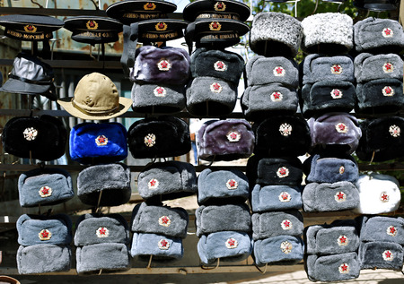 papakha: Many multi-colored military hats Soviet and Russian army and navy Stock Photo