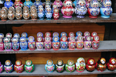 russian nesting dolls: Colorful Russian nesting dolls at the market Stock Photo
