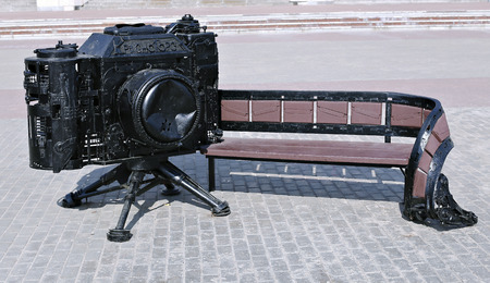 zenith: KRASNOGORSK; RUSSIA - APRIL 30; 2016: Bench in the shape of the retro camera. The inscription in Russian Krasnogorsk Editorial