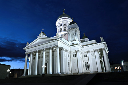 HELSINKI, FINLAND - JULY 8, 2015: Cathedral of St. Nicholas (Cathedral Basilica) in Helsinki at night