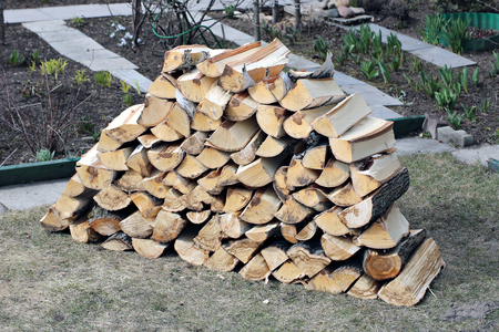 Stabel of chopped birch firewood
