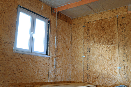 sheathing: Construction of frame house wall sheathing of OSB