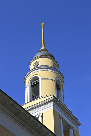 Bell tower of Church of the Ascension of the Lord in Storozh near Nikitsky gate in Moscow Stock Photo