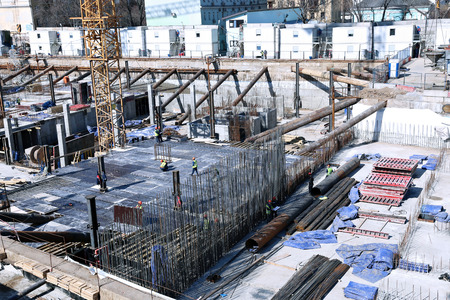 reinforced: Construction of a reinforced concrete foundation of a modern building
