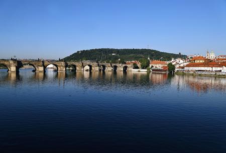 Charles Bridge over the Vltava River in Prague, Czech Republic